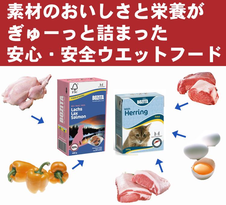 素材の美味しさと栄養がぎゅーっと詰まった安心・安全ウエットフード